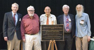 Algunos de los asistentes celebrando el 50 aniversario de la conferencia de Darmouth en 2006.