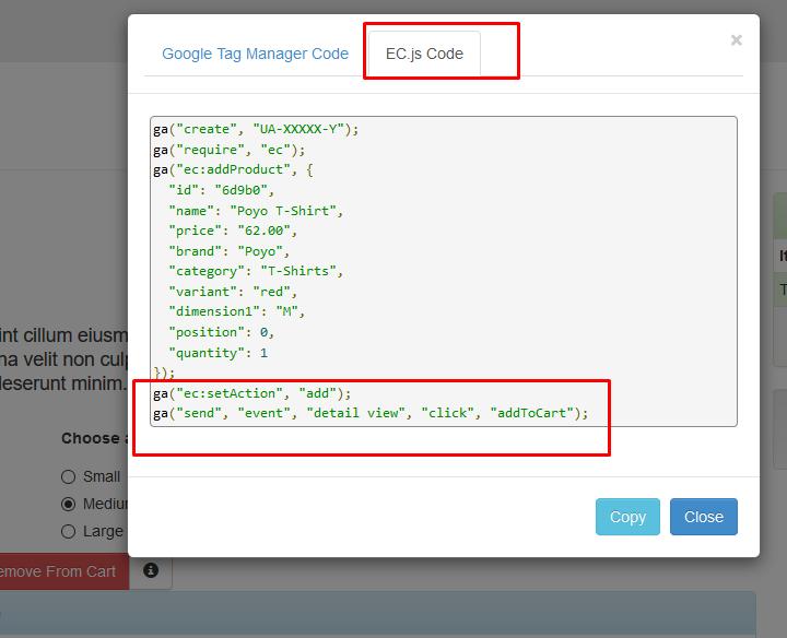 Este es un ejemplo del script del plugin ecommerce.js extraído directamente en la web de testing