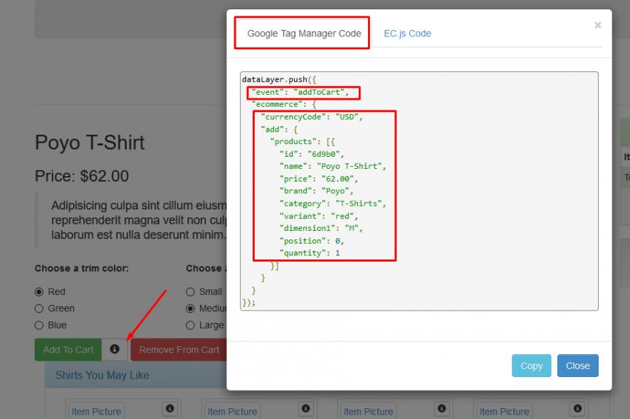 Ejemplo de dataLayer en la web de testing anterior: vemos que después del evento addToCart tenemos un array o listado de objetos, en formato JSON, par de claves y valor, específico de productos, título, precio, categoría, etc.